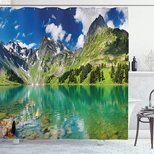 """Ambesonne Nature Shower Curtain, Mountain Range Scenery Print of a Creek Lake Highland Rocky Hills in an Idyllic Landscape Art Picture, Cloth Fabric Bathroom Decor Set with Hooks, 70"""" Long, Fern Green"""