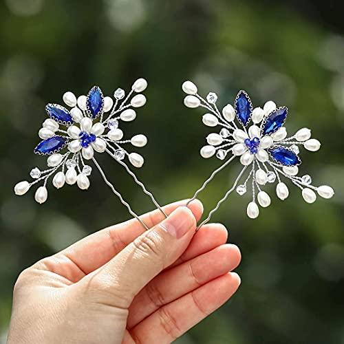 Vakkery - Fermagli per capelli da sposa con perle argentate, accessori per capelli da sposa per donne e ragazze