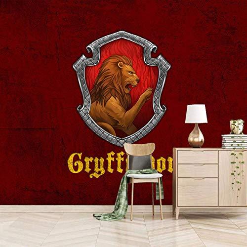 Dsromhgqi papel pintado mural 3d 140x70cm Rojo escudo león Mural ciudad decoración del dormitorio del hogar habitación de los niños papel tapiz mural autoadhesivo simulación paisaje pintura artística
