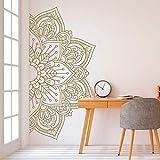 wopiaol Autocollant décalcomanie moitié Mandala Fleur méditation Style bohème Vinyle Citations inspirant Famille Mot Autocollants Salon Chambre décoration Murale