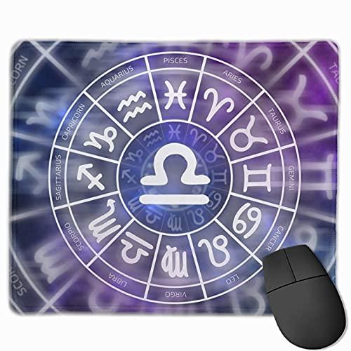 Rechteck Mauspad Waage Symbol-Astrologie Durchmesser Gaming Computer Laptop Mauspad mit genähter Kante Gummibasis, rutschfeste bequeme haltbare, wasserdichte Mausmatte
