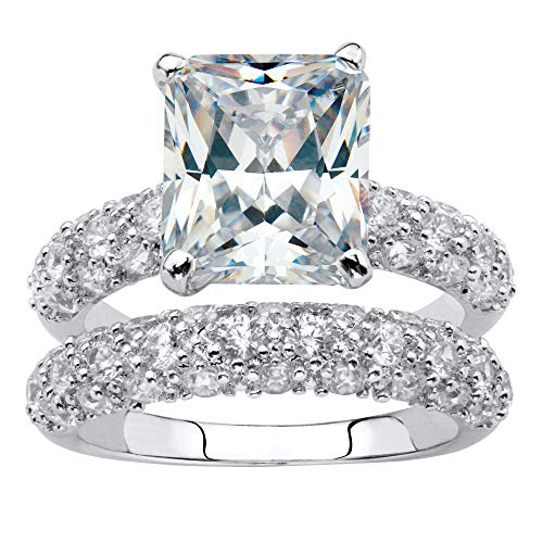 Palm Beach Jewelry Platinum Plated Emerald Cut and Pave Set Cubic Zirconia 2 Piece Bridal Ring Set Size 7