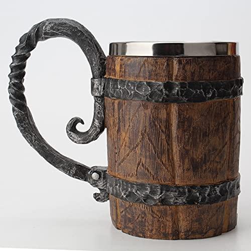 YYSD Barril de Madera, Acero Inoxidable, Resina, 3D, Jarra de Cerveza, Juego, Jarra, Taza de café, Tazas de Copa de Vino, 550 ml, conseguido