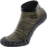 Skinners | Unisex Minimalistische Barfußschuhe für Damen & Herren | Minimalist Barefoot Socks/Shoes for Men & Women | Olivgrün schwarzes Logo, XS