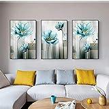 ELMSART Pintura Abstracta de la Lona de la Flor Azul Cuadro Moderno del Arte de la Pared del Azul de bebé para la Sala de Estar Cartel Dorado Imprimir Cuadros Decoración del salón 50x75cmx3 sin Marco
