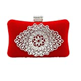 Shiratori Suede Clutch Purses for Women Rhinestone Crystal Clutch Bag,Red