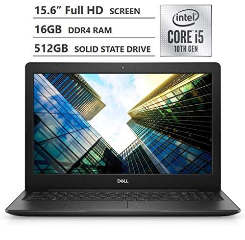 2020 Newest Dell Inspiron 15 3000 Series Laptop, 15.6' Full HD Non-Touchscreen, 10th Gen Intel Core i5-1035G1 Processor, 16GB RAM, 512GB SSD, Webcam, HDMI, Wi-Fi, Bluetooth, Windows 10 Home, Black
