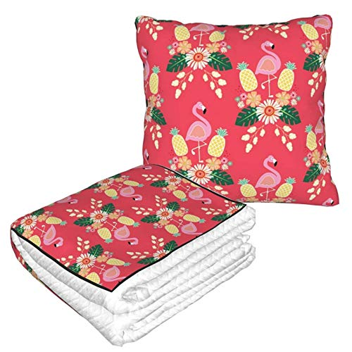 Manta 2 en 1 con diseño de flamencos rosas y piñas 2 en 1 de alta calidad, suave y cálida, para el cuello de avión