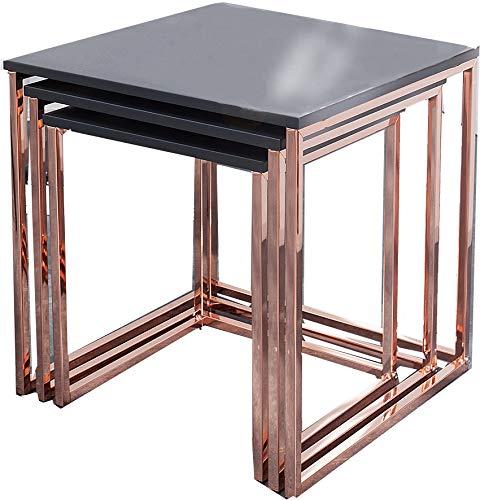 DuNord Design Beistelltisch Couchtisch 3er Set Stage matt Graphit Kupfer Design Tisch Set