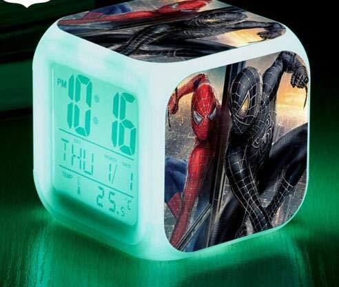 Spider Man 7 Colors Changing Digital Clock Spiderman LED Alarm Clock Lovely Cartoon Night Light Alarm Clock for Kids,Style 20,Birthday Gifts