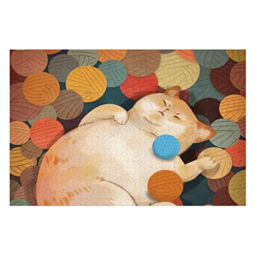 Jigsaw Puzzle 1000 Pieces   Cat, Funny, Circles Puzzle For Home Decoration Games Kids Men Woman Gift