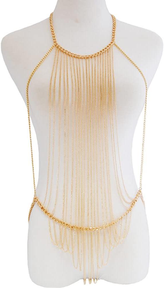 CHXISHOP Layered Sexy Gold Tassels Necklace Fashion Jewelry Belly Waist Bra Boho Body Chain Jewelry for Women Lady Girls