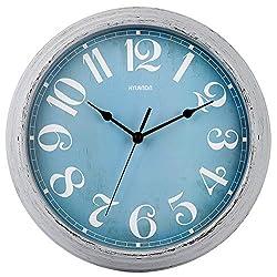 HYLANDA Blue Wall Clock - 12 Inch Quartz Silent Non Ticking Clock - Vintage Retro Wall Clocks Battery Operated - Decorative Living Room Home Kitchen School Office(Sky Blue)