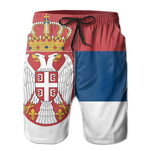 Naiyin Serbia Flag Short of Swimwear for Mens Beach Pants Beach Shorts Quick Dry (XL)