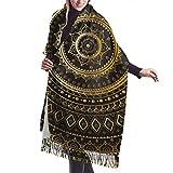 Bufanda de mantón Mujer Chales para, Bufanda de cachemira oriental étnica con mandala negra dorada para mujeres, hombres, ligera, unisex, moda suave, bufandas de invierno, chales con flecos