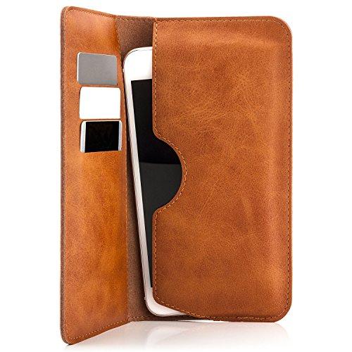 Saxonia Edle Tasche Etui Portemonnaie Premium Hülle Universal für Smartphones von 4 bis 5.5 Zoll für iPhone, Samsung, Huawei und mehr | Braun