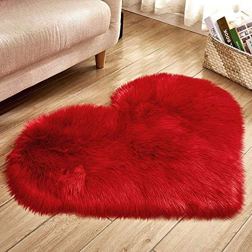 panthem Alfombra con forma de corazón, mullida y suave, de pelo largo, de felpa, para salón, dormitorio, mujer, chica, pareja, 40 x 50 cm, color rojo