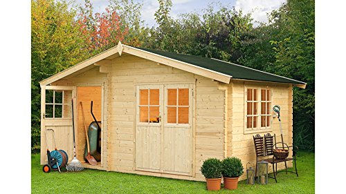 OUTDOOR LIFE PRODUCTS Gartenhaus Belmont 2, BxT: 427x280 cm, 34 mm Natur