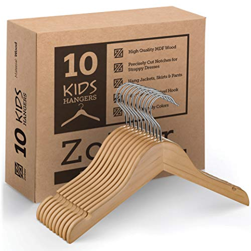 High-Grade Wooden ChildrensKids Hangers 10 Pack Smooth Durable Wood Baby Hangers  Nursery Hangers - 125 Inch - Space Saving 360° Hook Cut Notches- Great Toddler Hanger For Dress Skirts Pants