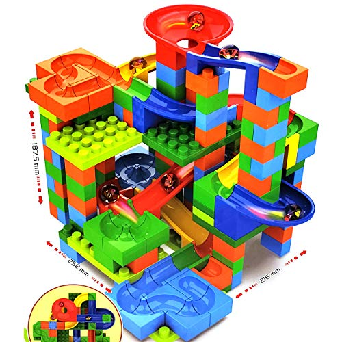 coolitoys Best Choice Colorful Products Kids 248 Piece Building Blocks Marble Run Toy Puzzle Race Track Roller Coaster Set Ramp , Slides, Funnels Best for Kids Boys and Girls