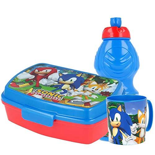 ip Set Accessori Merenda Sonic Porta merenda + Tazza + Borraccia Scuola Asilo Pranzo Colazione Videogiochi