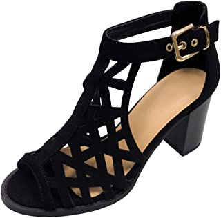 Christmas Special Juliette Caged Gladiator Block Heel Strappy Dressy Sandals Shoes for Women (Assorted Colors / Low and High Heels))
