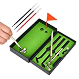 Mini Golf Club Pen Set Gifts for Man Dad Funny Office Souvenir Birthday Gifts for Boss Coworker Unique Novelty Golf Game Desktop Toys Cute Mini Putting Green Golf Course