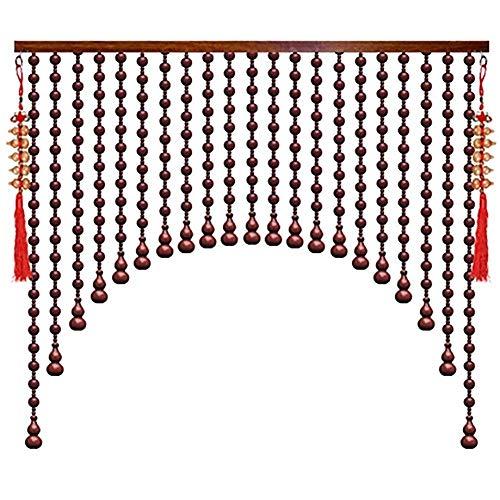ZXL Kralen houten pompoen gordijnen voor woonkamer scheidingswand woonkamer rustieke inrichting (kleur: A, grootte: 45 strengen-160x110cm)