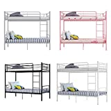 Metal Single Bunk Beds Siblings Twins Bedroom Furniture with Mattress Option (Black)