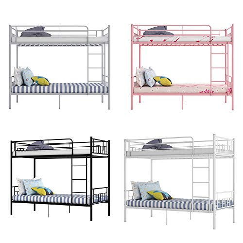 Metal Single Bunk Beds Siblings Twins Bedroom Furniture with Mattress Option (White)
