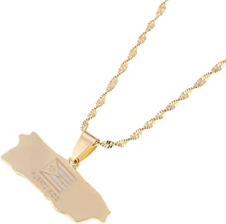 Puerto Rico Map Pendant Chain For Women Puerto Ricans Map Jewelry