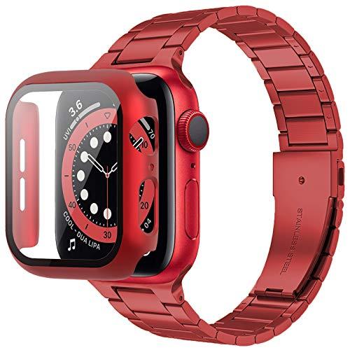 Miimall Compatible con Apple Watch Series 6/SE/5/4 44 mm pulsera con carcasa de PC, ultrafina, de acero inoxidable y metal, correa de repuesto para iWatch de Apple Watch 44 mm – Rojo
