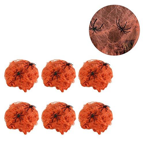 BESTOYARD 6 Stück Gruselige Halloween-Spinnennetze Gurtband Spukhaus, Dekoration Requisite mit 2 Spinnen (Orange)