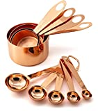 9 Piece Copper Stainless Steel Measuring Cups and Spoons Set with Engraved Measurements & Mirror...