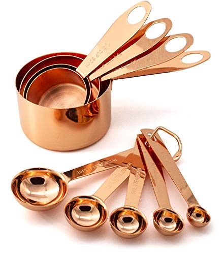 Good For You 9 Piece Copper Stainless Steel Measuring Cups and Spoons Set