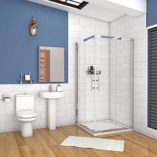 AICA cabine de douche 90x90cm accaccès d'angle cabine de douche carré porte de douche coulissante hauteur:195cm