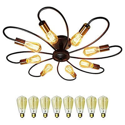 Ceiling Light Fixture, FINXIN 8 Lights Semi Flush Mount Pendant Light, Mid-Century Metal Sputnik Chandelier Light, Starburst Lighting for Bathroom Bedroom Kitchen Bar Hallway and Dining Room