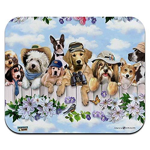 Hunde im freien auf zaun muster low profile thin mouse pad mousepad