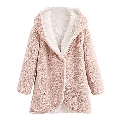 Boomboom Women's Winter Clothes, Curved Hem Fleece Wool Cotton Hoodies Long Coats