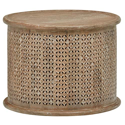 Amazon Brand – Stone & Beam Commodore Casual Round Coffee Table, 23.6'W, Whitewash Mango Wood