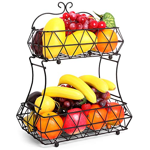 NZQXJXZ 2 Tier Fruit Basket, Detachable Fruit Bowl Bread Baskets, Metal Fruit Holder Kitchen Storage Baskets Stand for Fruits, Vegetables, Snacks (Black)