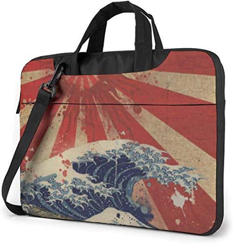 15.6 inch Laptop Shoulder Briefcase Messenger Japan Rising Sun Over Great Sea Tablet Bussiness Carrying Handbag Case Sleeve