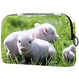 Bolsa de maquillaje de viaje con diseño de cerdo pequeño cerdito para bebé, bolsa de maquillaje grande, organizador con cremallera para mujeres y niñas
