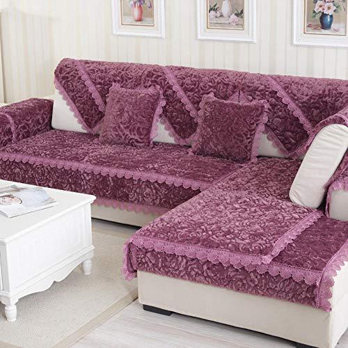 YUTJK Cotton Printed Corner Sofa Slipcover, Living Room Fabric Sofa Seat Covers, Furniture Protector Cover, Cojines de Franela Rosa para Silla, Vendido en Pedazos, Púrpura