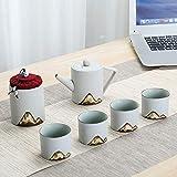 Set Kung fu té Tazas, Cilíndrica pote del té Exquisito Conjunto Vogue Esmalte Montaña Pintura de Alta Temperatura del Horno en Llamas y Dibujado a Mano patrón Negro para el hogar y la Oficina