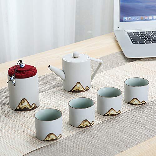 WH-IOE Tasse à thé et Soucoupe Set Cylindrique Tea Pot Set Peinture Montagne Exquis Vogue Glaze Haute température Kiln Brûler et Motif dessiné à la Main Noire pour Cadeau de Mariage