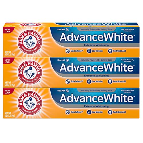 Arm & Hammer Advance White Extreme Whitening with Stain Defense, Clean, No Mint, 6 Ounce (Pack of 3)