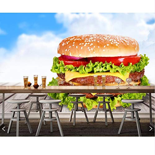 Pmhc fotobehang Fast Food Hamburger groente houten planken eten behang voor woonkamer keuken fast-food-winkel restaurant bar 400 x 280 cm.