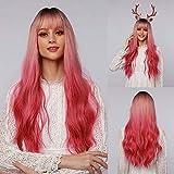 HAIRCUBE pelucas sintéticas onduladas largas Ombre mezcla de raíz negra degradado rosa a rojo pelucas Light Bangs Cosplay pelucas de fiesta para mujeres