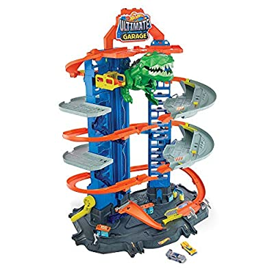 Hot Wheels City Robo T-Rex Ultimate Garage Multi-Level Multi-Play Mode Stores 100 Plus 1:64 Scale Cars Gift idea for Kids 3 and Older from Mattel